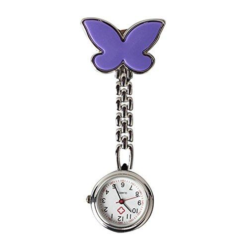 Krankenschwester Uhr SODIAL R Neue Art und Weise Schmetterlings Krankenschwester Tabelle Taschenuhr mit Clip Brosche Kette Quartz Lila