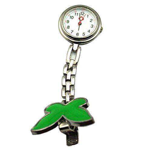 Krankenschwesteruhr Armbanduhr SODIAL R Geschenk Idee gruen Schmetterling Krankenschwesteruhr Quartz Uhr Taschenuhr mit Kette