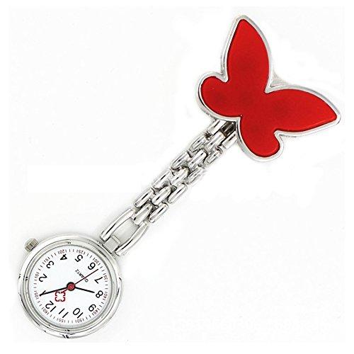 Krankenschwesteruhr Armbanduhr SODIAL R Geschenk Idee rote Schmetterling Krankenschwesteruhr Quartz Uhr Taschenuhr mit Kette