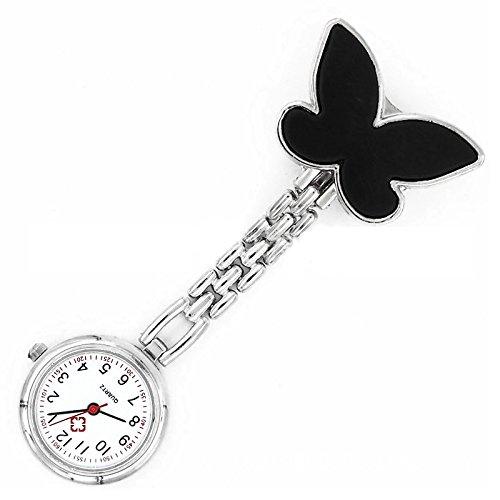 Krankenschwesteruhr Armbanduhr SODIAL R Geschenk Idee schwarz Schmetterling Krankenschwesteruhr Quartz Uhr Taschenuhr mit Kette