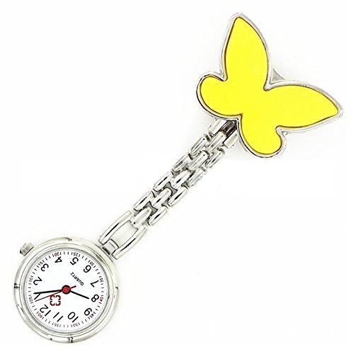 Krankenschwesteruhr Armbanduhr SODIAL R Geschenk Idee gelb Schmetterling Krankenschwesteruhr Quartz Uhr Taschenuhr mit Kette