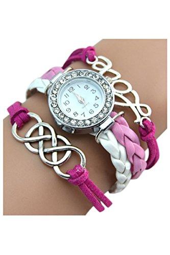 Kristall Armbanduhr SODIAL R Armbanduhr Damen Liebe Charme Kunstleder Band Armbanduhr Rose Rot