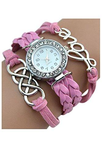 Kristall Armbanduhr SODIAL R Armbanduhr Damen Liebe Charme Kunstleder Band Armbanduhr Rosa