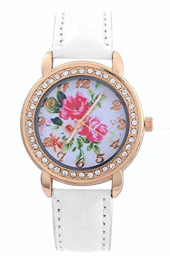 Kristall Armbanduhr SODIAL R Damen Rose Blumen Gold Kristall Kunstleder Armband Quarz Weiss