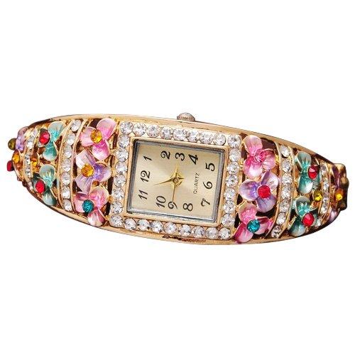 Kristallblume Uhr SODIAL R Mode Kristallblume Uhren fuer Frauen Kleid Armbanduhr Quarz Vergoldet Armbanduhren Bunte