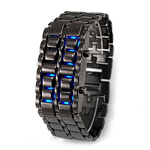 LED SODIAL R Blau LED Digital Uhr Quarzuhr Schwarz Armband Armbanduhr Unisex Watch