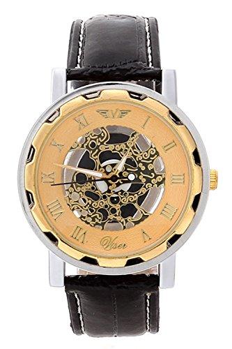 Maenner Armbanduhr SODIAL R Schwarzes Armband Goldenes Zifferblatt Nicht mechanische Kunstleder Armbanduhr fuer Maenner