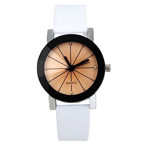 Quarzuhr Armbanduhr SODIAL R Quarzuhr Armbanduhr Elegant Uhr Modisch Zeitloses Design Klassisch Leder weiss