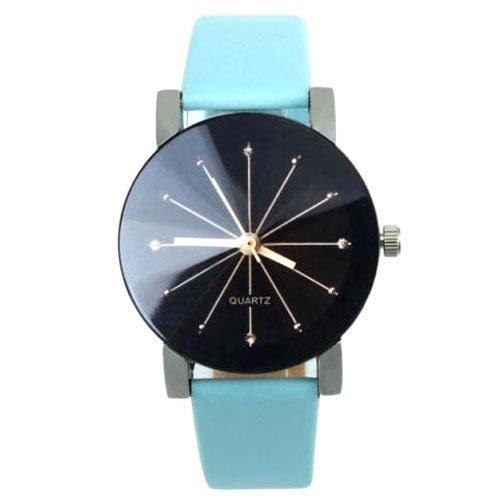 Quarzuhr Armbanduhr SODIAL R Quarzuhr Armbanduhr Elegant Uhr Modisch Zeitloses Design Klassisch Leder blau