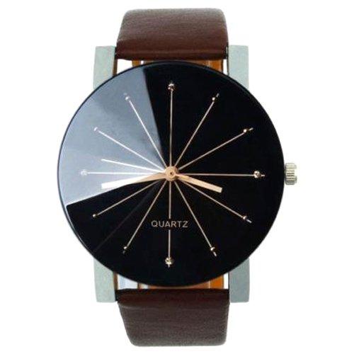 Quarzuhr Armbanduhr SODIAL R Quarzuhr Armbanduhr Elegant Uhr Modisch Zeitloses Design Klassisch Leder Kaffee