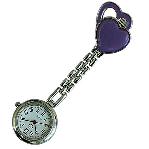 Quarzuhr Armbanduhr SODIAL R Krankenschwesteruhr Quarzuhr Kinderuhr Taschenuhr mit Clip Doppel Herz lila
