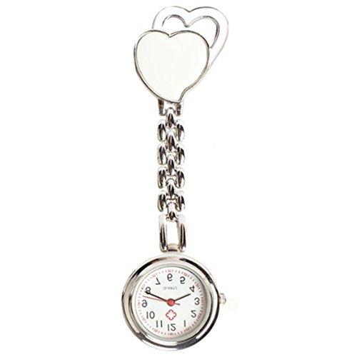 Quarzuhr Armbanduhr SODIAL R Krankenschwesteruhr Quarzuhr Kinderuhr Taschenuhr mit Clip Doppel Herz weiss