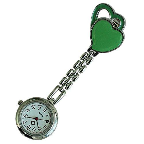 Quarzuhr Armbanduhr SODIAL R Krankenschwesteruhr Quarzuhr Kinderuhr Taschenuhr mit Clip Doppel Herz gruen