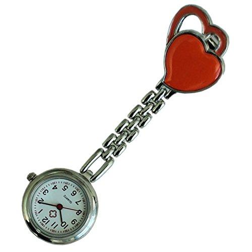 Quarzuhr Armbanduhr SODIAL R Krankenschwesteruhr Quarzuhr Kinderuhr Taschenuhr mit Clip Doppel Herz orange