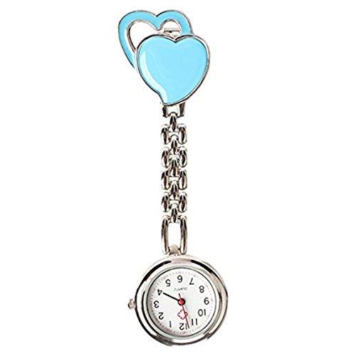 Quarzuhr Armbanduhr SODIAL R Krankenschwesteruhr Quarzuhr Kinderuhr Taschenuhr mit Clip Doppel Herz blau