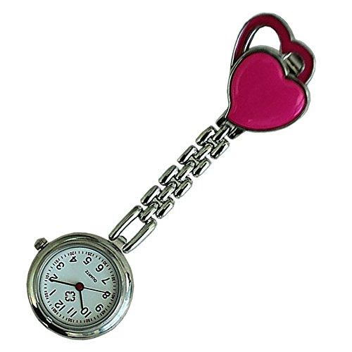 Quarzuhr Armbanduhr SODIAL R Krankenschwesteruhr Quarzuhr Kinderuhr Taschenuhr mit Clip Doppel Herz Rose Red