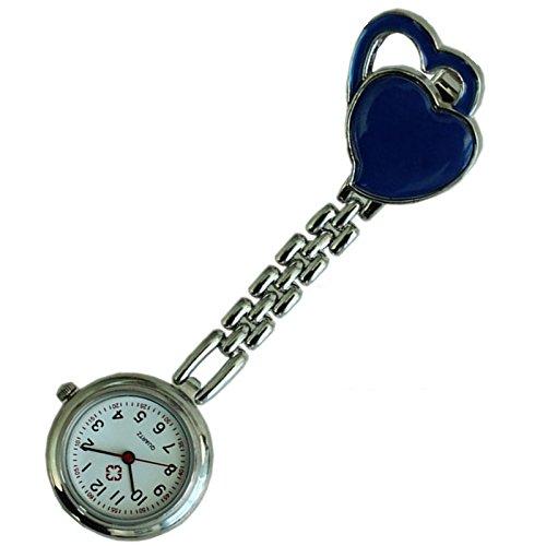 Quarzuhr Armbanduhr SODIAL R Krankenschwesteruhr Quarzuhr Kinderuhr Taschenuhr mit Clip Doppel Herz marineblau