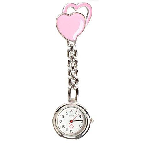 Quarzuhr Armbanduhr SODIAL R Krankenschwesteruhr Quarzuhr Kinderuhr Taschenuhr mit Clip Doppel Herz rosa