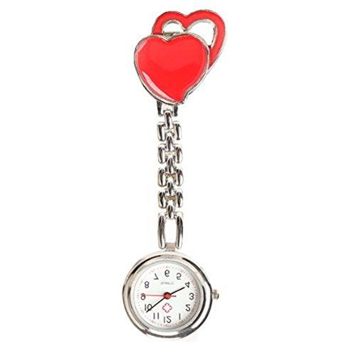 Quarzuhr Armbanduhr SODIAL R Krankenschwesteruhr Quarzuhr Kinderuhr Taschenuhr mit Clip Doppel Herz Rote