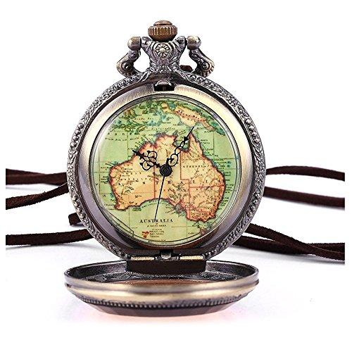 Retro Armbanduhr SODIAL R Australien Karte Taschenuhr Analog Quarz Uhr Bronze Kettenuhr Unisex