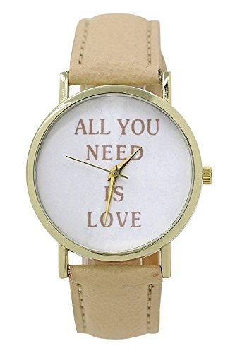 SODIAL R Alles was Sie brauchen ist Liebe ALL YOU NEED IS LOVE Kunstleder Armbanduhr beige
