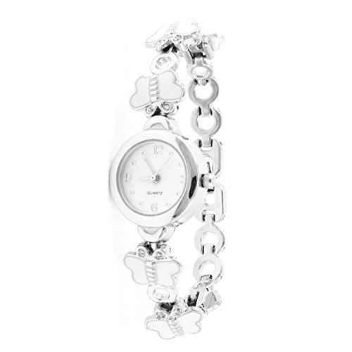 SODIAL R Arabische Zahlen Zifferblatt Schmetterling Weisses Armband Runde Sache Armbanduhr fuer Frauen