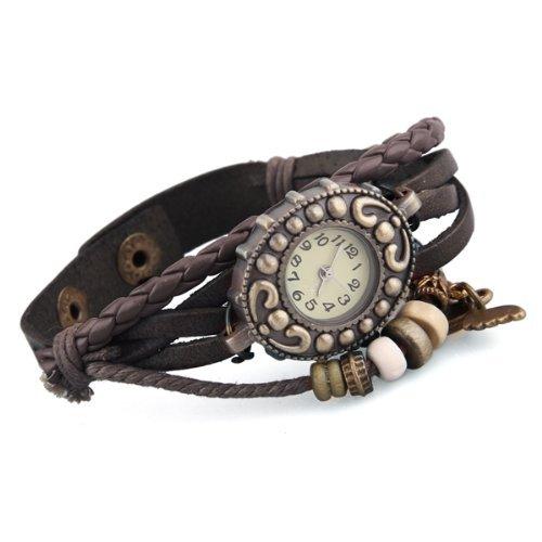 SODIAL R Armband geflochtene Armbanduhr Quarzuhr Kaffee Leder