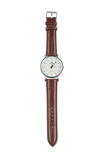 SODIAL R Armbanduhren Armbanduhr Quarz Uhr Herren Kunstleder Watch Laessig Trend Braun