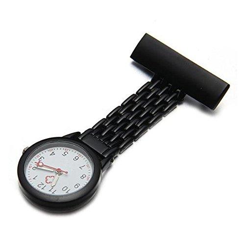 SODIAL R Quarz Bewegung Schwesternuhr Krankenschwesteruhr Taschenuhr Metall Uhr Schwarz