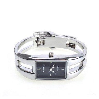 SODIAL R Alu Case Bracelet Schwarzes Zifferblatt Modernes Silber Fashion Dame Quarz Uhren