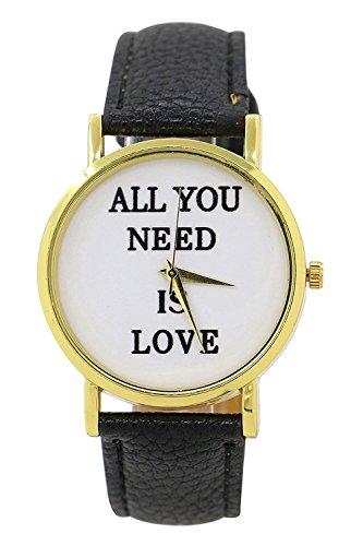 SODIAL R Alles was Sie brauchen ist Liebe ALL YOU NEED IS LOVE Kunstleder Armbanduhr schwarz