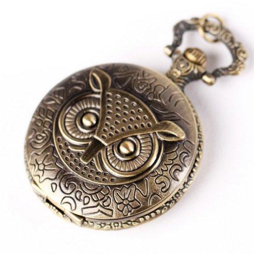 SODIAL R Eule Damen Quarz Uhr Taschenuhr mit Halskette Kette Mode Schmuck