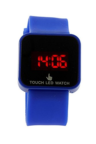 SODIAL R Bunte Unisex LED Digitale Touch Screen Silikon Armbanduhr dunkelblau