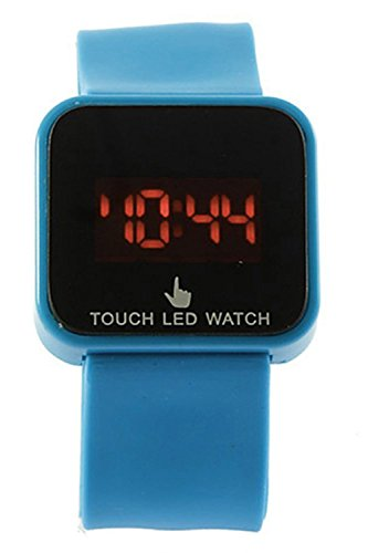 SODIAL R Bunte Unisex LED Digitale Touch Screen Silikon Armbanduhr Himmelblau