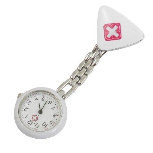 SODIAL R Dreieck Entwurf Brosche Arabische Ziffern Krankenschwester Uhr fuer Frauen Weiss