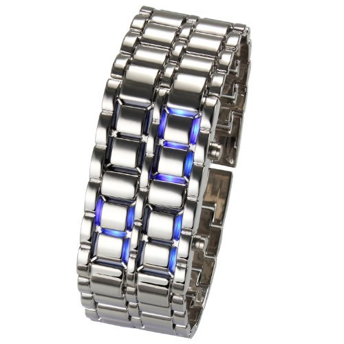SODIAL R Vogue LED Lava Faceless Metall Silber Armband Blaue LED Unisex Armbanduhr