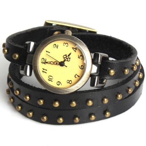 SODIAL R Fashion Niet Rund Schwarz Leder Weave Weben Armbanduhr Quarzuhr Geschenk