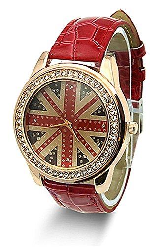 SODIAL R Fashion Fahne Frauen Kristall Leder rot