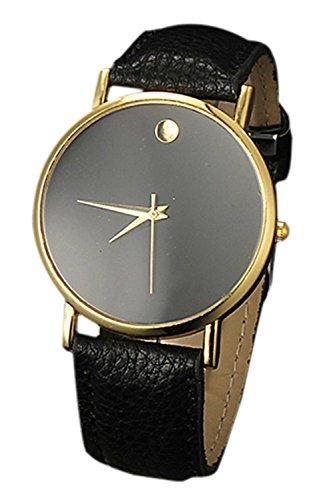 SODIAL R Fashion Unisex Minimalist Armbanduhr gold Gehaeuse schwarz Band