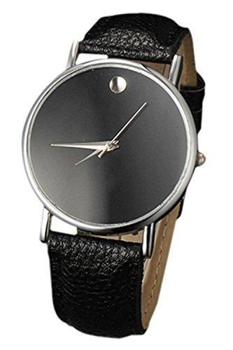 SODIAL R Fashion Unisex Minimalist Armbanduhr Silber Gehaeuse schwarz Band
