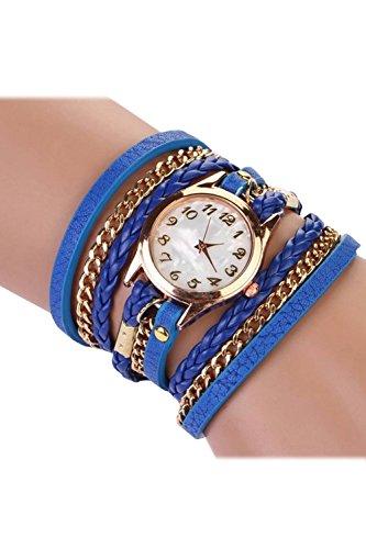 SODIAL R Fashion Damen Retro Synthetische Lederarmbanduhr Armband Armbanduhr Blau