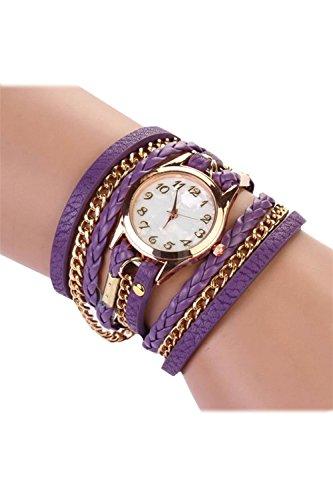 SODIAL R Fashion Damen Retro Synthetische Lederarmbanduhr Armband Armbanduhr lila