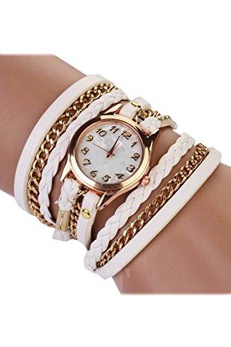 SODIAL R Fashion Damen Retro Synthetische Lederarmbanduhr Armband Armbanduhr weiss
