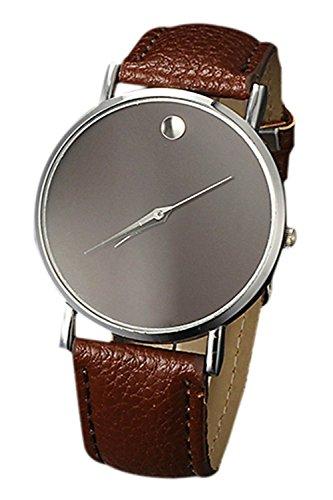 SODIAL R Fashion Unisex Minimalist Armbanduhr Silber Gehaeuse Braun Band