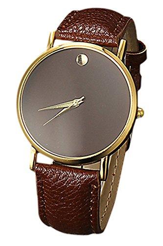SODIAL R Fashion Unisex Minimalist Armbanduhr gold Gehaeuse Braun Band