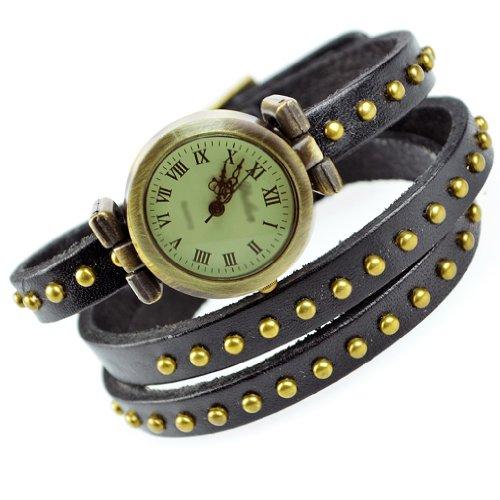 SODIAL R Fashion Niet Weave Wrap Around Leder Retro Armband Frauen Armbanduhr Schwarz