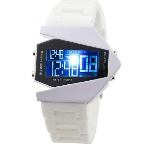 SODIAL R Uhr Fliegeruhr Digital LED Silikon Weiss