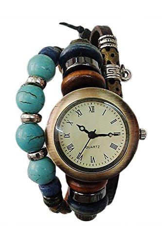 SODIAL R Frauen Retro Dekoration Leder Tuerkis Armbanduhr Braun
