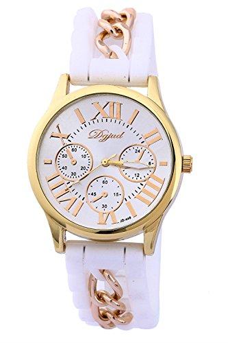 SODIAL R Golden Gehaeuse Silikon Legierung Armband Armbanduhr weiss