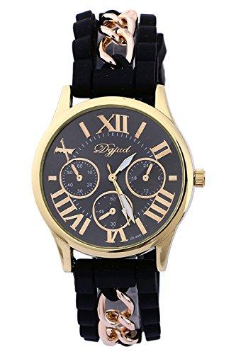 SODIAL R Golden Gehaeuse Silikon Legierung Armband Armbanduhr schwarz